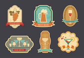 Stickers with bar symbols: beer wine champagne