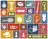 Simple icons of the sports goods and accessories