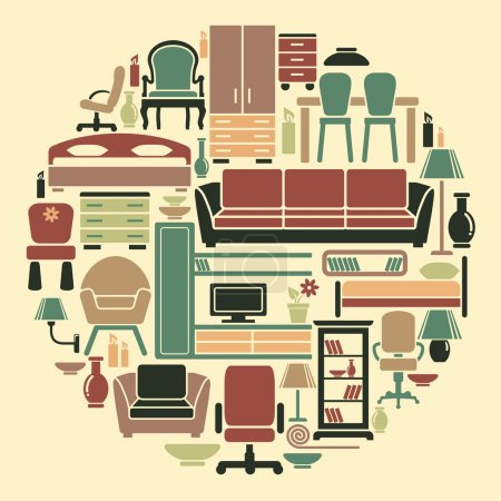 Illustration for Icons of furniture and accessories for an interior - Royalty Free Image