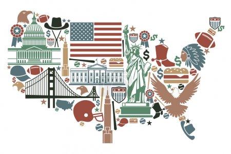 Photo pour Symboles traditionnels sous forme de carte des États-Unis - image libre de droit