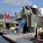 Guggenheim Museum in Bilbao with La Salve Bridge, ...