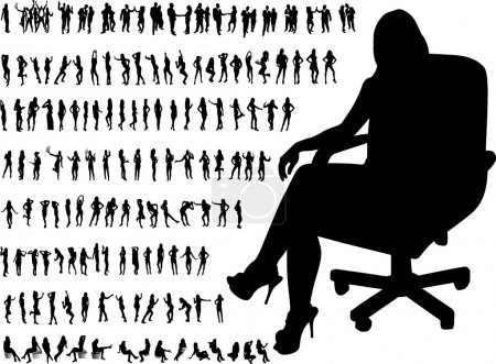 Illustration for Very many high quality business silhouettes - Royalty Free Image