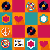 Seamless musical retro pattern with vinyl