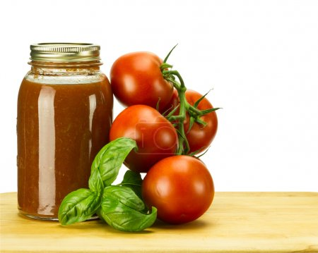 Photo for Tomato sauce with tomatoes and basil - Royalty Free Image