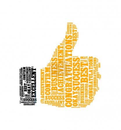 Photo pour Réalisation félicitations meilleur excellent ok confirmer info texte collage Composé en forme de pouce jusqu'à un isolé sur blanc - image libre de droit