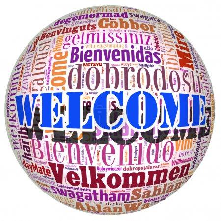 Photo pour Mot de bienvenue de concept dans de nombreuses langues du monde - image libre de droit