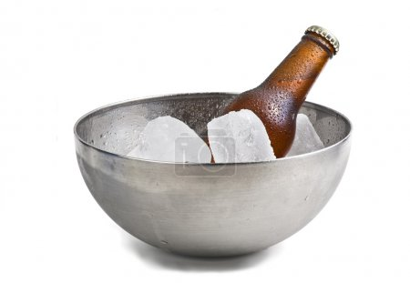 Beer bottle in ice