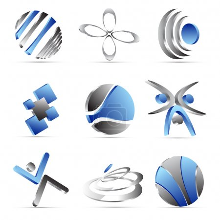 Illustration for Blue business icons design - Royalty Free Image