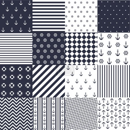 Illustration for Seamless pattern with nautical elements - Royalty Free Image