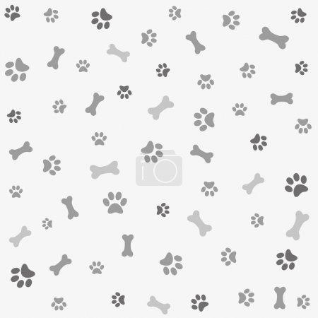 Illustration pour Arrière-plan avec empreinte de patte de chien et os - image libre de droit