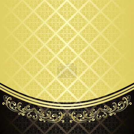 Luxury Background decorated a Vintage ornament : gold and black.