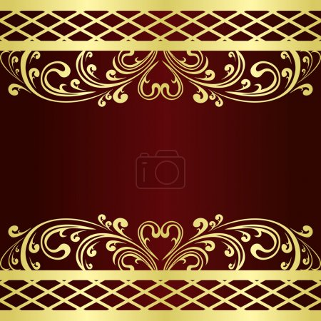 Luxury claret Background decorated a gold vintage Ornament.