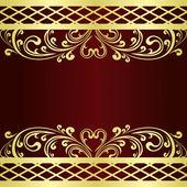 Luxusní bordó pozadí zdobené zlatem ornamentem vinobraní
