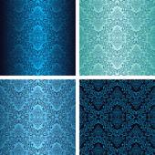 Damaškové bezešvými tapetu ve čtyřech variantách - odstíny modré