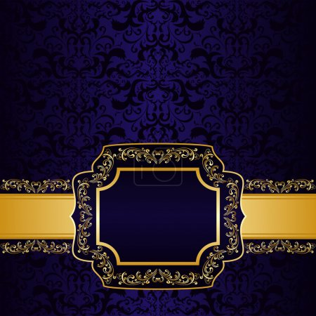 Dark blue ornamental Background with label.