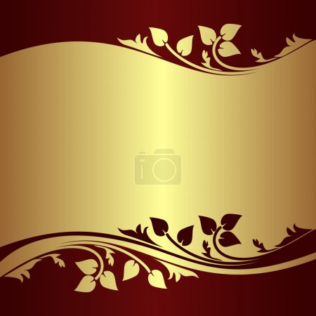 Luxury golden Background decorated Border with floral elements.
