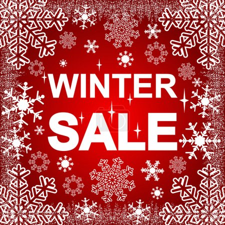 Winter Sale on a red Background.