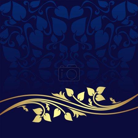 Illustration pour Luxe bleu marine fond ornemental décoré d'une bordure florale dorée . - image libre de droit