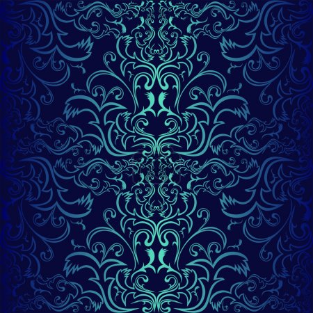 Seamless dark blue ornamental Wallpaper.