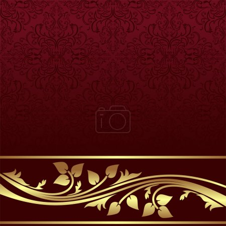 Luxury red ornamental Background with golden floral Border.