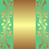 Luxusní zelené pozadí se zlatým květinovým hranice