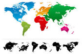 Vector World map with colorful continents Atlas - EPS