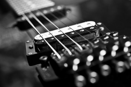 Photo for Fragment string electric guitar in black and white - Royalty Free Image