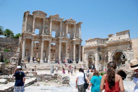 Tourists visiting the ancient city of Ephesus, near Izmir, Turkey.
