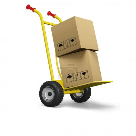 Hand cart or dolly with cardboard boxes