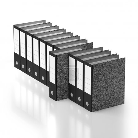 Ordered row of folders with outstanding example