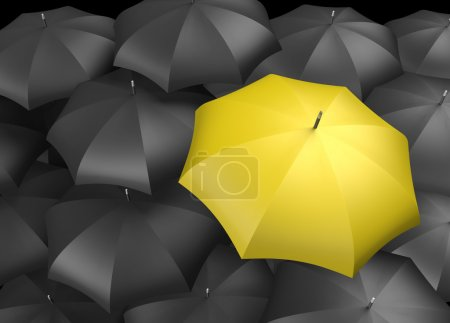 Photo for Background of black Umbrellas with and Individual Yellow brightly colored umbrella standing out - Royalty Free Image