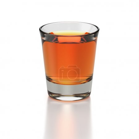 Photo for Small shot glass with whisky colored drink on white background - Royalty Free Image