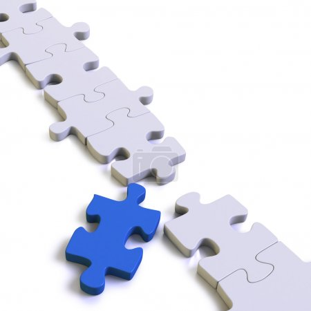 Parts of a puzzle or solution with blue missing link