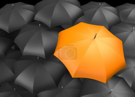 Photo for Orange umbrella standing out from background of black umbrellas - Royalty Free Image