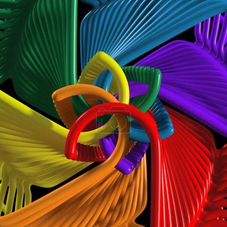 Kaeidoscope arrangement of colored hangers