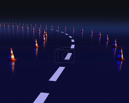 Traffic cones on dangerous curve