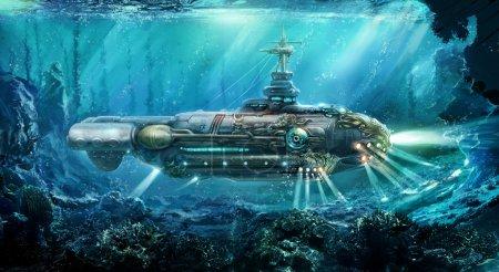 Photo pour Illustration de raster. Il s'agit d'une continuation d'une série d'illustrations de style futuriste. Il s'agit d'une illustration du sous-marin, il y a toujours un dirigeable et une voiture dorée. tout dans un style. - image libre de droit