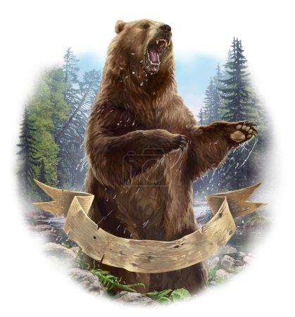 Photo pour Illustration matricielle. L'ours dans l'attaque . - image libre de droit