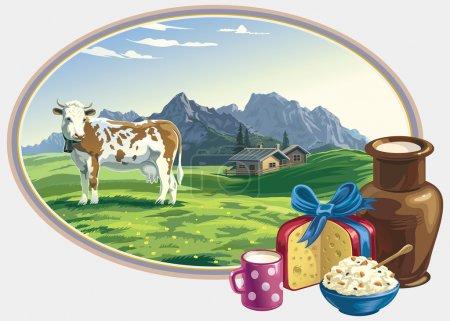 Illustration pour Paysage vectoriel avec une vache, avec des aliments laitiers. Une grande attention aux détails . - image libre de droit