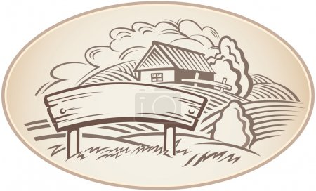 Illustration for Graphical rural landscape with house. Monochrome. This vector illustration can it is useful for for a label or brand. - Royalty Free Image