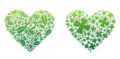 Two hearts made up of leaves and clovers colored green