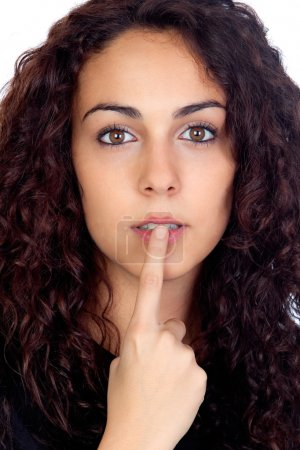 Young woman with silence sign