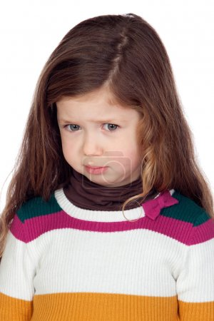 Sad little girl with long hair