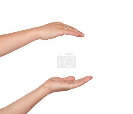 Photo pour Couple de mains ne tenant rien isolé sur fond blanc - image libre de droit