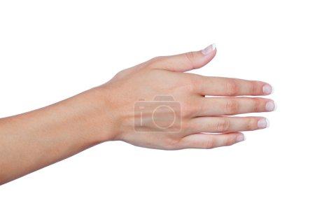 Photo pour Main féminine avec de beaux ongles étendus pour saluer isolé sur un fond blanc - image libre de droit