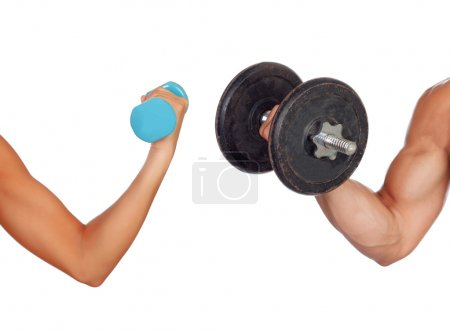 Photo for Arm of man and woman lifting weights isolated on a white background - Royalty Free Image