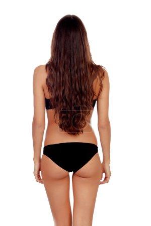 Girl with long hair in black underwear