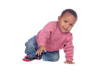 Beautiful African American baby crawling