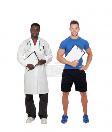 Healthy soport. Personal trainer and african doctor