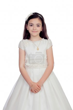 Photo for Adorable little girl dressed in communion isolated on white background - Royalty Free Image